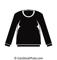 Shirt with long sleeves in black simple silhouette style icons vector illustration for design
