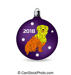 Symbol of the year 2018, yellow dog sits in a Christmas ball, cartoon on a white background.