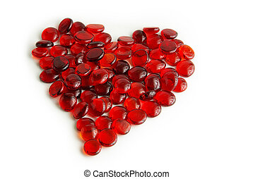 glass gems heart - Photo of tens of little red glass gems...