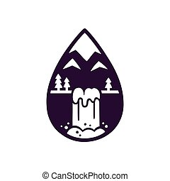 Mountain and waterfall logo - Stylized mountain and...
