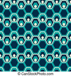 Seamless pattern of hexagons placed one inside another -...