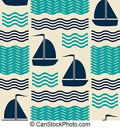 Nautical pattern with waves and sailing yachts