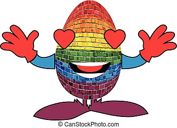 Gay pride egg in brick style - Illustration, Rainbow mascot...