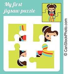 Puzzle kids activity. Complete the picture. Elementary...
