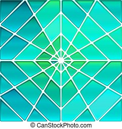 abstract vector stained-glass mosaic background - teal...