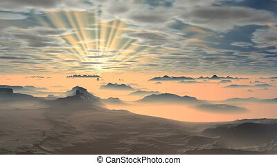 Colorful Dawn over Misty Mountains