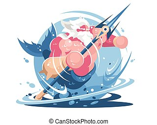 Character poseidon with trident. God of sea and ocean....