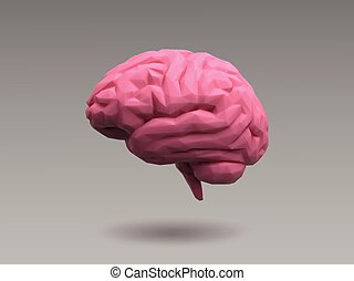 Low poly pink brain on natural lighting look - Low poly pink...