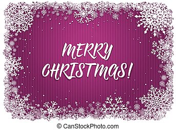 Pink Christmas background with frame of snowflakes - Pink...