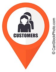 Customers orange pointer vector icon in eps 10 isolated on white background.