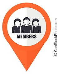 Members orange pointer vector icon in eps 10 isolated on white background.
