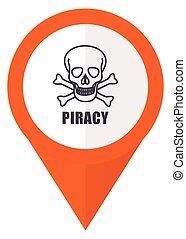 Piracy skull orange pointer vector icon in eps 10 isolated on white background.