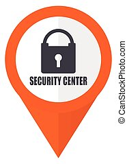 Security center orange pointer vector icon in eps 10 isolated on white background.