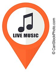 Live music orange pointer vector icon in eps 10 isolated on white background.