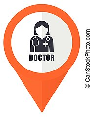 Doctor orange pointer vector icon in eps 10 isolated on white background.