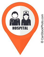 Hospital orange pointer vector icon in eps 10 isolated on white background.