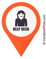 Help desk orange pointer vector icon in eps 10 isolated on white background.