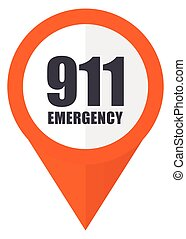 Number emergency 911 orange pointer vector icon in eps 10...