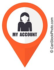 My account orange pointer vector icon in eps 10 isolated on white background.