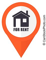 For rent orange pointer vector icon in eps 10 isolated on white background.