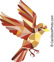 Sparrow Flying Low Polygon - Low polygon style illustration...