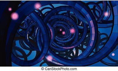 Abstract spiral wire background with technology or sci fi...