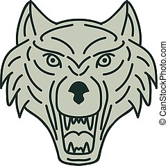 Gray Wolf Head Mono Line - Mono line style illustration of a...