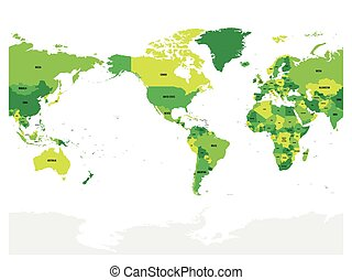 World map in four shades of green on white background. High...