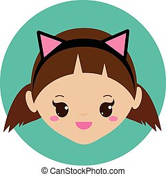 Cute girl with cat ears headband. Vector illustration for kids, children and babies fashion