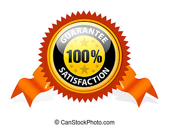 100% Satisfaction Guaranteed Sign with ribbon on white...