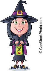 Girl Witch Trick or Treater - Cartoon of a young girl...