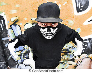 Masked rapper - Street portrait of a rapper with a mask