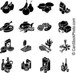 Shop navigation foods icons set, simple style - Shop...