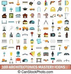 100 architectonics mastery icons set, flat style - 100...