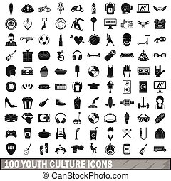 100 youth culture icons set, simple style - 100 youth...
