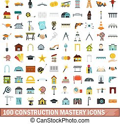 100 construction mastery icons set, flat style - 100...