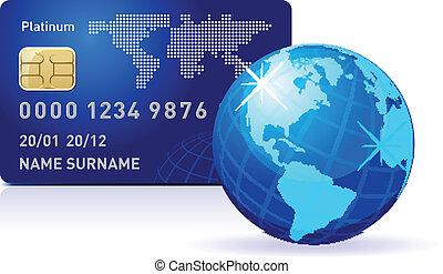 Internet Banking Credit card with world map and Globe...