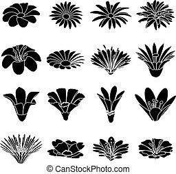 Detailed flower icons set, simple style