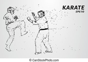 Karate of particles. Karate consists of small circles. -...