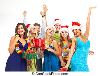 Happy people - Happy funny people. Christmas. Party....