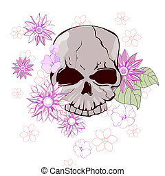 floral skull - vector illustration of colorful flowers...