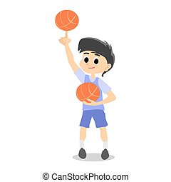 happy kids school activity, child sport team, boy have fun and play with ball on basketball field on stadium, isolated active game background vector illustration