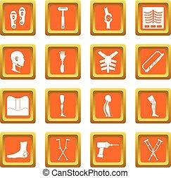 Orthopedics prosthetics icons set orange - Orthopedics...