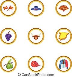 Spain icons set, cartoon style - Spain icons set. Cartoon...