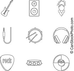 Rock icon set, outline style