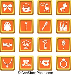 Doll princess items icons set orange