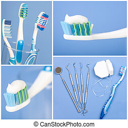 Dental tools, floss, and toothbrush - Dental tools, floss...