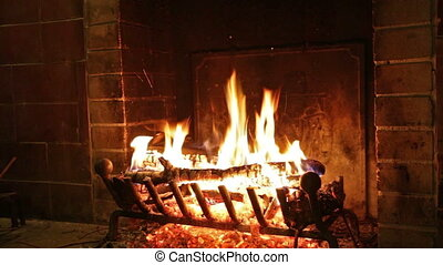 The fire is burning in the fireplace - Burning logs in a...