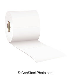 Toilet rolled - single roll of white rolled toilet paper...