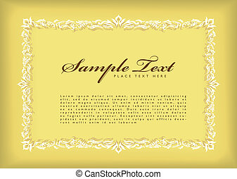 geunge frame border - yellow certificate frame with floral...
